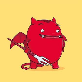 Czerwony diabeł z trójzębem kreskówka wektor premium