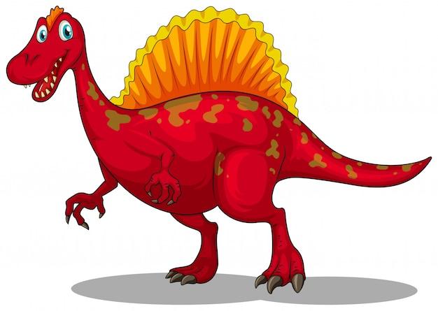 Czerwony dinozaur z ostrymi pazurami
