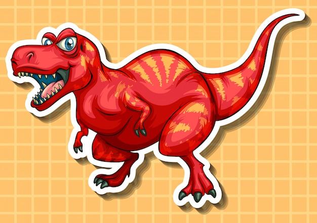 Czerwony dinozaur z ostrymi zębami