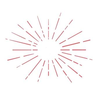 Czerwony doodle sunburst