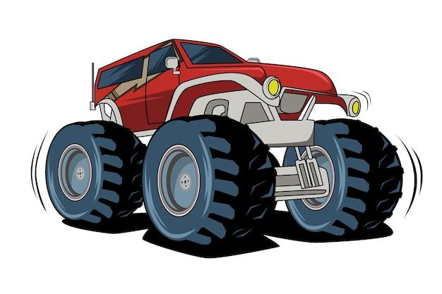 Czerwony duży samochód potwory rysunek odręczny