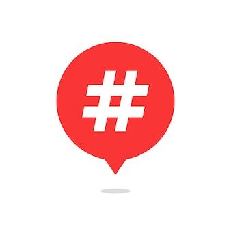 Czerwony dymek z hash tag i cień. pojęcie znaku liczbowego, mediów społecznościowych, mikroblogowania, pr, popularności. na białym tle. płaski trend nowoczesny projekt logo ilustracja wektorowa