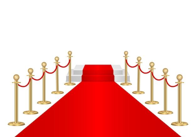 Czerwony dywan i bariery ścieżki 3d. impreza vip, luksusowe świętowanie. stojaki na bariery linowe gold queue. ceremonia premiery. luksusowe wejście na imprezę vip lub imprezę celebrytów. ilustracji wektorowych