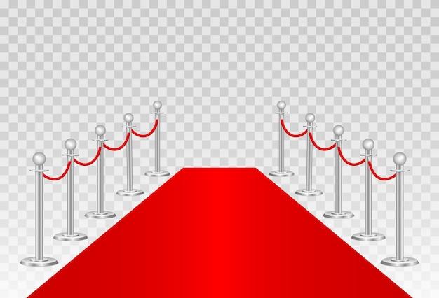 Czerwony dywan i bariery ścieżki 3d. impreza vip, luksusowe świętowanie. stojaki na bariery linowe gold queue. ceremonia premiery. luksusowe wejście na imprezę vip lub imprezę celebrytów.