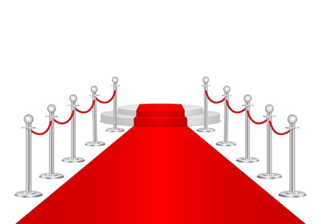 Czerwony dywan i bariery ścieżki 3d. impreza vip, luksusowe świętowanie.