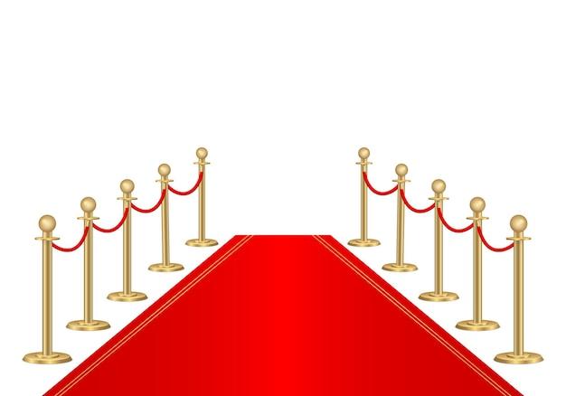 Czerwony dywan i bariery ścieżki 3d