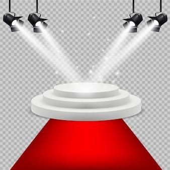Czerwony dywan i białe podium. nagroda scena z oświetleniem projektora na białym tle realistyczne tło. ilustracja podium i cokole