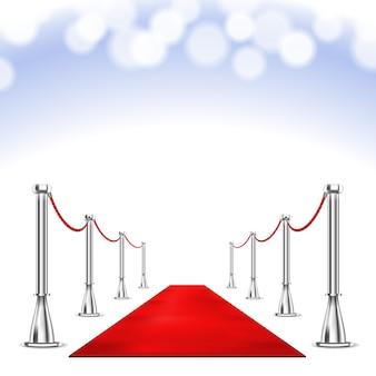 Czerwony dywan i światła bokeh