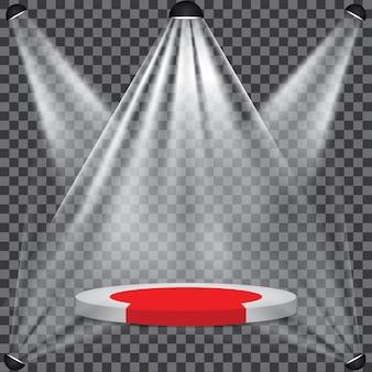 Czerwony dywan na etapie podium z reflektorem