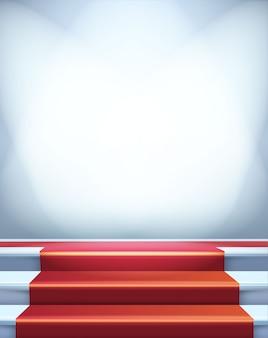 Czerwony dywan na schodach. pusta ilustracja szablon z miejscem na obiekt, osobę, logo, tekst. prezentacja, gala, ceremonia, koncepcja nagród.