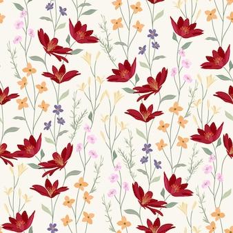 Czerwony dziki kwiatowy wzór ogrodu