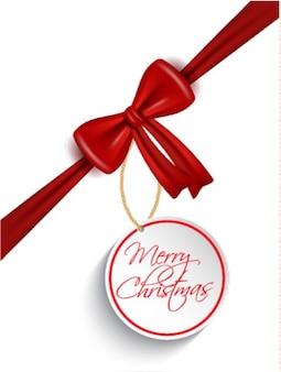 Czerwony dziobu z christmas tag backgrpound
