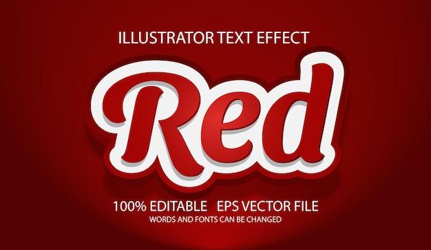 Czerwony edytowalny efekt tekstowy 3d lub styl graficzny