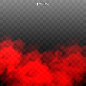 Czerwony efekt mgły lub dymu na białym tle efekt specjalny.