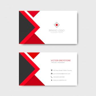Czerwony elegancki korporacyjny wizytówka szablon