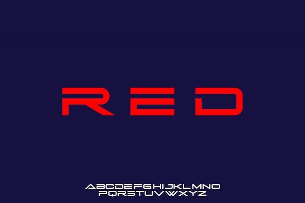 Czerwony, futurystyczny nowoczesny zestaw czcionek alfabetu