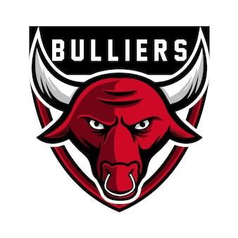 Czerwony głowa maskotka byk logo