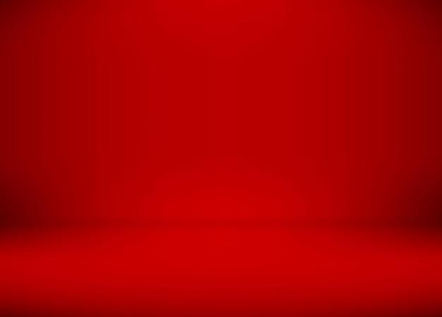 Czerwony gradient pokoju studio używany do tła, szablon makiety do wyświetlania produktu.