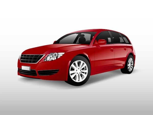 Czerwony hatchback samochód odizolowywający na białym wektorze