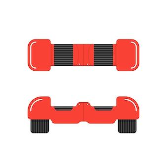 Czerwony hoverboard z przodu i z góry. koncepcja silnika, innowacji, sportu, żyroskopu, opony, aktywności ulicznej, gadżetu maszyny. na białym tle. płaski styl trend logo projektowania ilustracji wektorowych