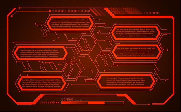 Czerwony hud cyber obwodu przyszłości technologii koncepcja tło