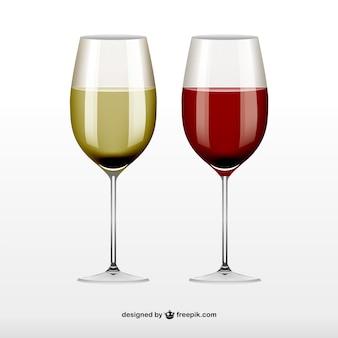 Czerwony i biały kieliszki do wina