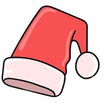 Czerwony i biały obraz świąteczny kapelusz. rysować ikonę doodle. rysowanie naklejek z rysunkami