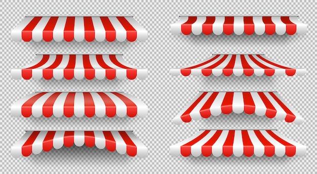 Czerwony i biały parasol przeciwsłoneczny