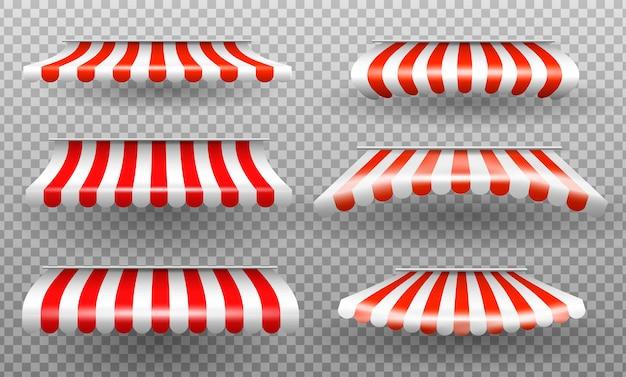 Czerwony i biały parasol.