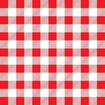 Czerwony i biały wzór bawełniany materiał w kratkę