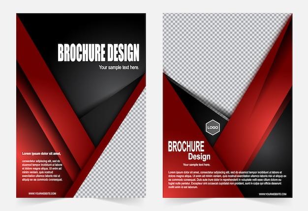 Czerwony i czarny broszura szablon projekt ulotki