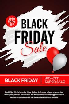 Czerwony i czarny elegancki projekt plakatu z okazji czarnego piątku