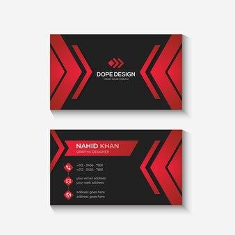 Czerwony i czarny nowoczesne profesjonalne kreatywne wizytówki szablon