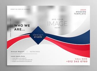 Czerwony i niebieski falisty biznes broszura szablon projektu