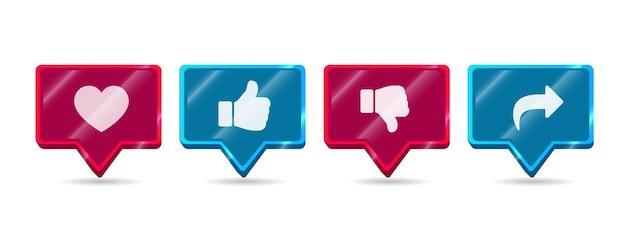Czerwony i niebieski nowoczesne okrągłe błyszczące lubię nie lubię udostępnij subskrybuj zestaw ikon przycisków mediów społecznościowych