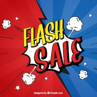 Czerwony i niebieski projekt sprzedaży flash w stylu komiksu