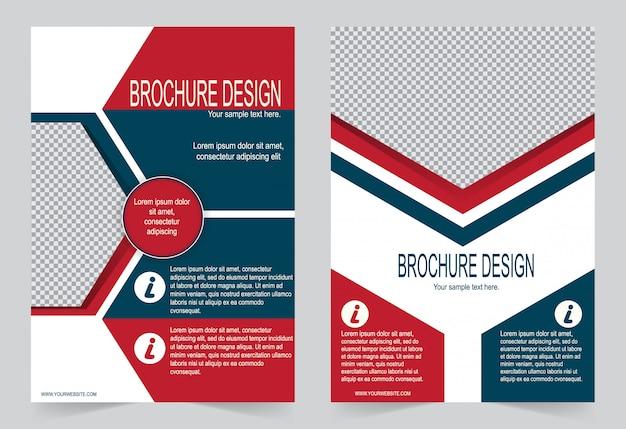 Czerwony i niebieski szablon ulotki z broszurami,