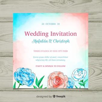Czerwony i niebieski szablon zaproszenia ślubne z akwarela piwonia kwiatów
