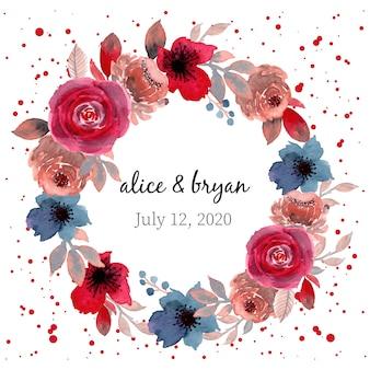 Czerwony i niebieski wieniec kwiatowy akwarela