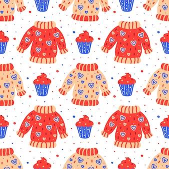 Czerwony i niebieski wzór. ręcznie rysowane płaskie swetry z nadrukiem babeczki. tkaniny, tło papieru.