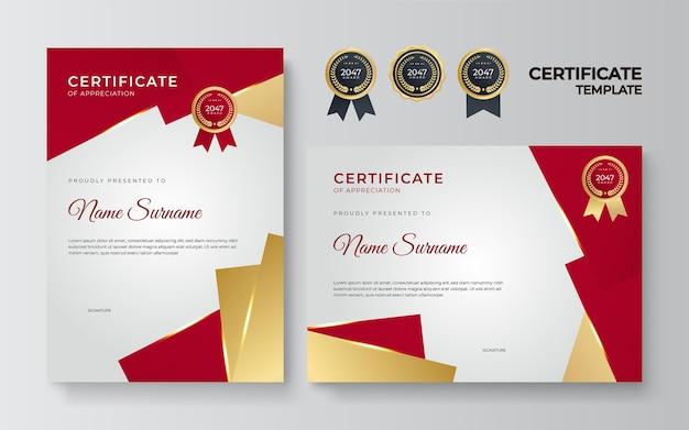Czerwony i złoty certyfikat osiągnięcia granicy szablon z luksusową odznaką i nowoczesnym wzorem linii. na potrzeby związane z nagrodami, biznesem, organizacją, firmą i edukacją