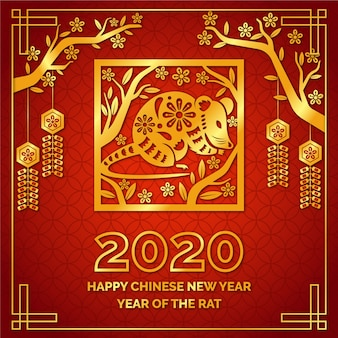 Czerwony i złoty chiński nowy rok