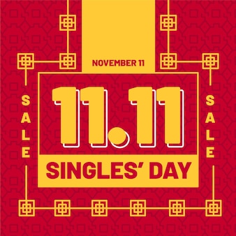 Czerwony i złoty motyw dnia singli