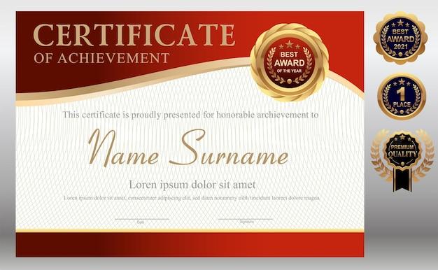 Czerwony i złoty szablon certyfikatu