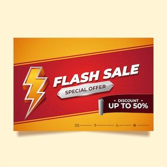 Czerwony i żółty flash sprzedaż szablon do promocji