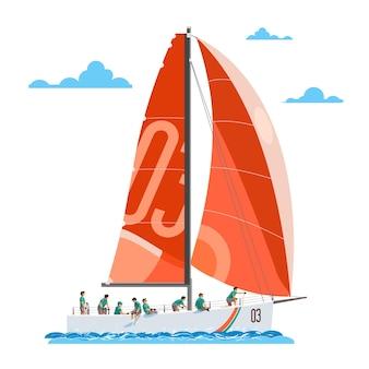 Czerwony jacht żaglowy z liczną 8-osobową załogą jacht żaglowy