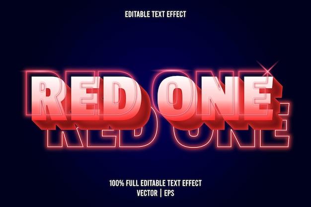 Czerwony jeden edytowalny efekt tekstowy w stylu neonowym w kolorze czerwonym