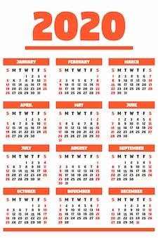 Czerwony kalendarz na 2020 rok, gotowy do wydruku, płaski