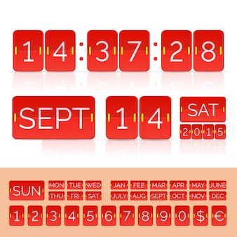 Czerwony kalendarz z numerami timera i tablicy wyników. ilustracja wektorowa eps10