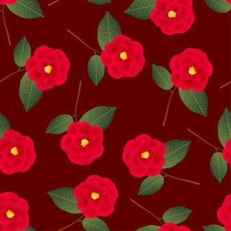 Czerwony kameliowy kwiat na czerwonym tle